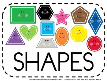 SHAPES - flashcards, wall display, big book, worksheets, word wall words