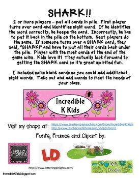 SHARK!! a fun twist on a sight word game