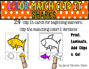 SHARKS Color Match Clip It {A Beginning Work Task)