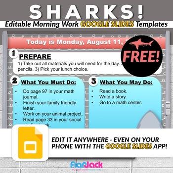 sharks editable morning work google slides templates freebie tpt