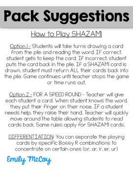 SHAZAM! Bossy R Flashcards and Fluency Game