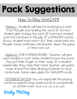 SHAZAM! CVCe Flashcards and Fluency Game