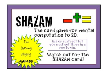 NUMBER FACTS GAMES - SHAZAM and SHAZAM JUNIOR - Addition a