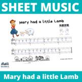 SHEET MUSIC Piano - Easy Mary had a little lamb - 4 versio