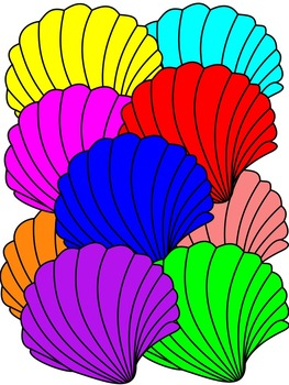 SHELL CLIP ART * COLOR AND BLACK AND WHITE