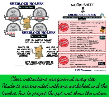 DETECTIVE SHERLOCK TRAILERS- CLUES HUNT GAME (ESL): fun and challenging intro