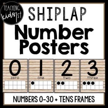 SHIPLAP NUMBER POSTERS 0-30 with Ten Frames