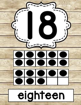 SHIPLAP Rustic Wood Ten Frames Numbers 0-20