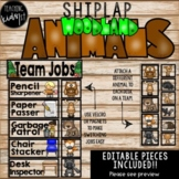 SHIPLAP WOODLAND ANIMALS TEAM JOBS EDITABLE