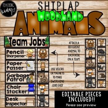 SHIPLAP WOODLAND ANIMALS TEAM JOBS EDITABLE