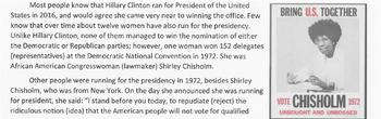 SHIRLEY CHISHOLM 1st Black Congresswoman Reading Comprehension Lesson/Questions