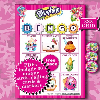SHOPKINS 3x3 Bingo