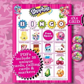 SHOPKINS 4x4 Bingo