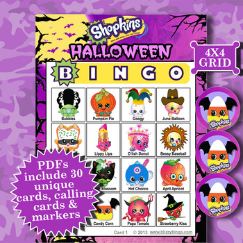 image regarding Shopkins Printable List named SHOPKINS HALLOWEEN 4x4 BINGO