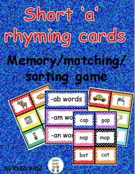 SHORT A RHYMING CARDS (Sorting/matching/memory)