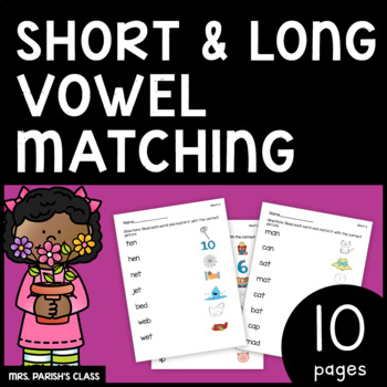 SHORT AND LONG VOWEL MATCHING!! PRINT AND GO!