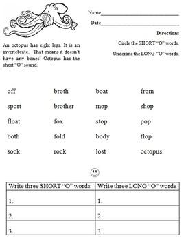 SHORT & LONG O Worksheet