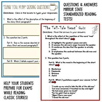 SHORT STORY LESSON BUNDLE: Common Core ELA Test Prep Quizzes and Activities