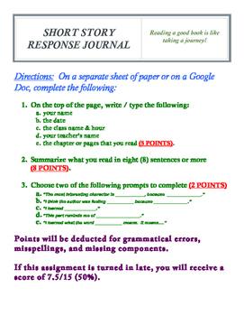 SHORT STORY RESPONSE JOURNAL