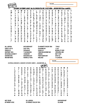 SHORT STORY UNIT / ELEMENTS OF FICTION WORD SEARCH - ENGLISH