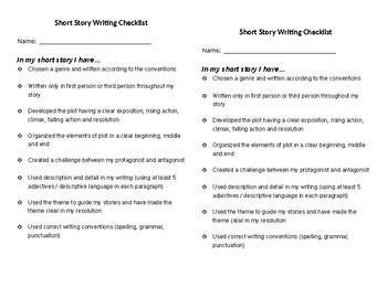 SHORT STORY WRITING CHECKLIST, SHORT STORY SUCCESS CRITERIA, NARRATIVE WRITING