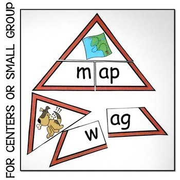 PHONICS SHORT VOWEL A  TRIANGLE PUZZLES CVC ONSET AND RIME CENTER