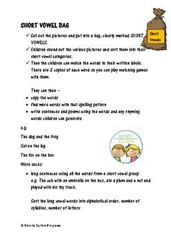 SHORT VOWEL BAG- activities to help children understand short vowels