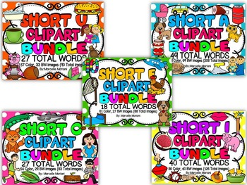 SHORT VOWEL CLIP ART BUNDLE- 161 Total Words (562 IMAGES)