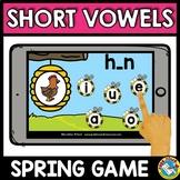 MEDIAL SOUND SHORT VOWELS CVC WORD WORK (SPRING ACTIVITY KINDERGARTEN BOOM CARDS