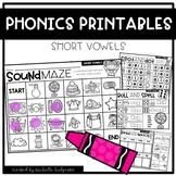 SHORT VOWELS CVC Worksheets Printables NO PREP Interactive