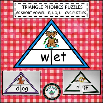 PHONICS SHORT VOWELS  E I O U  TRIANGLE PUZZLES CVC ONSET AND RIME CENTER