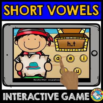 SHORT VOWELS INTERACTIVE GAME (MEDIAL SOUNDS ACTIVITIES BOOM CARDS)
