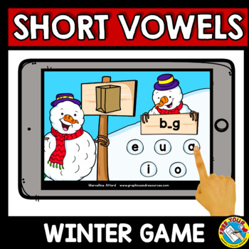 SHORT VOWELS WORD WORK (MEDIAL SOUNDS CVC ACTIVITIES WINTER BOOM CARDS) FEBRUARY