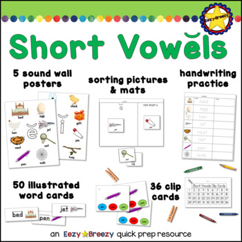 SHORT VOWELS posters, word cards, sorts, and clip cards