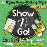 Exit Slips using Bloom's Taxonomy - Set 1