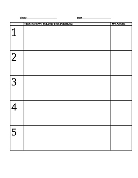 SHOW YOUR WORK GRID for MATH TASKS and TESTS