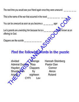 SCHUSTERMAN'S UNWIND word search puzzle