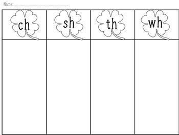 SHamrock Sort! Consonant Digraph sort FREEBIE