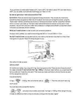 SI/Metric System Handout, Worksheet