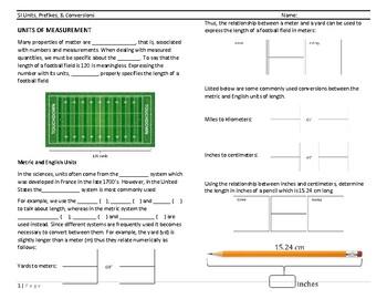 SI Units, Prefixes, and Conversions Worksheet