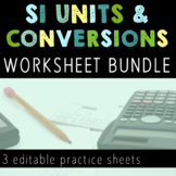 SI Units and Unit Conversions Worksheet Bundle