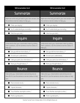 SIB (Summarize, Inquire, Bounce) Conversation Cards