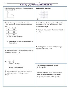 S.ID.6,7,8,9 Common Core Pre-Assessment/Test
