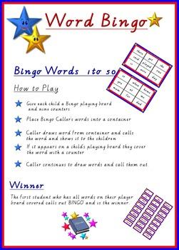 SIGHT WORD BINGO 1-50