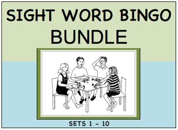 SIGHT WORD BINGO BUNDLE Sets 1 - 10