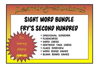 SIGHT WORD BUNDLE - FRY'S Second Hundred - Flashcards/Sentences + More + Games