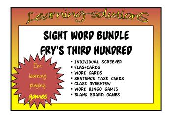SIGHT WORD BUNDLE - FRY'S Third Hundred - Flashcards/Task Cards/Tags + Games