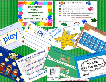 SIGHT WORD BUNDLE PACK # 3! Focus words: are, look, play, he, she (SmartBoard)