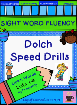 SIGHT WORD FLUENCY PRACTICE: Dolch Speed Drills Lists 1-3