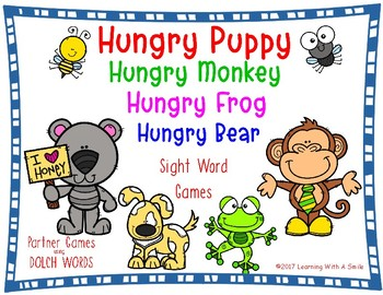SIGHT WORD GAME (Dolch Words) HUNGRY PUPPY Partner Game